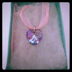Jewelry - Petunia Pink Crystal Heart Necklace